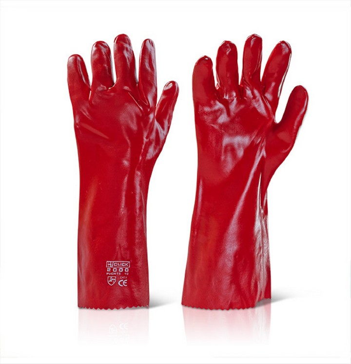"Red PVC Gloves 16"" (1 pair)"