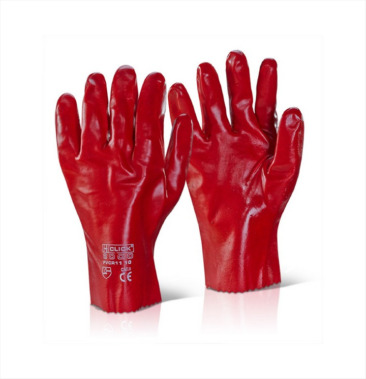 "Red PVC Gloves 11"" (1 pair)"