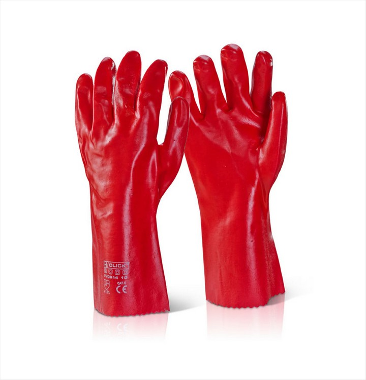 "Red PVC Gloves 14"" (1 pair)"