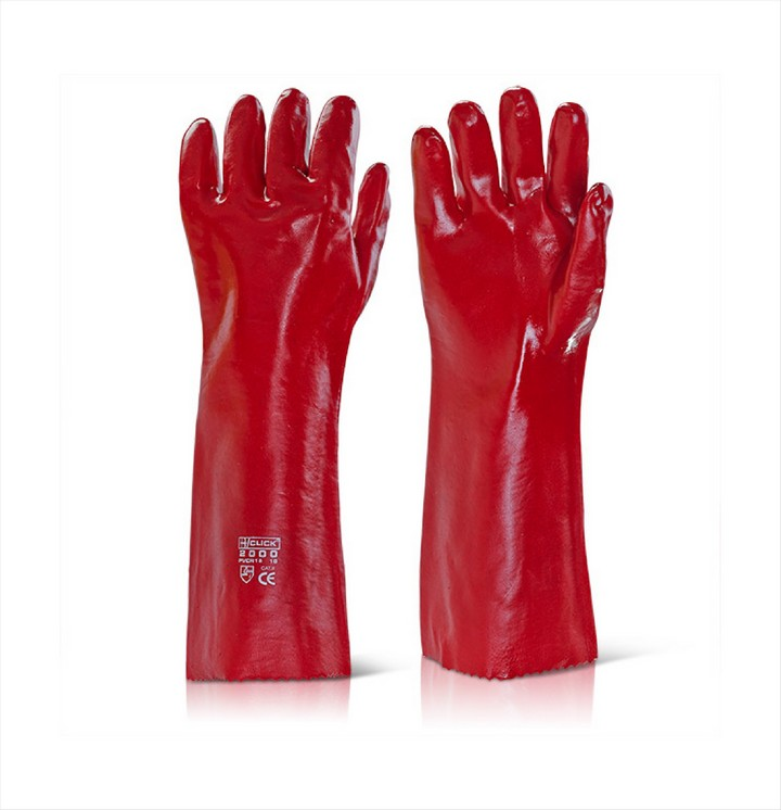 "Red PVC Gloves 18"" (1 pair)"