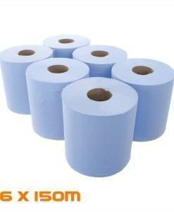 PAP 300 Centre Feed Blue Roll 150M | Paper Disposables Direct