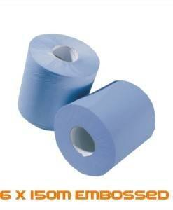 PAP 301 Embossed Centre Feed Blue Roll 150M | Paper Disposables Direct