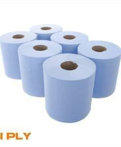 PAP 304 Centre Feed Blue Rolls 1Ply 300M | Paper Disposables Direct