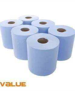 PAP 308 Cheap Centre Feed Blue Rolls | Paper Disposables Direct