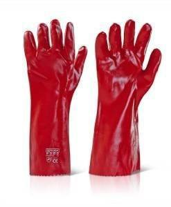 "GLV 500 Red PVC Gloves 16"" Gloves 