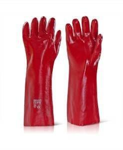 "GLV 505 Red PVC Gloves 18"" Gloves 